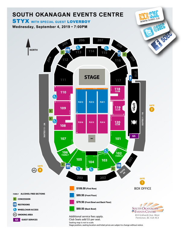Seating Maps South Okanagan Events Centre